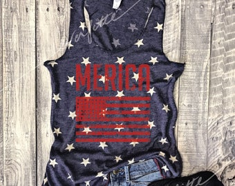 MERICA Vintage Washed Tank in Faded Blue/Ivory Star, American, Patriotic, Graphic Tee, July 4th,Fourth,Star Spangled Hammered, USA,Red White
