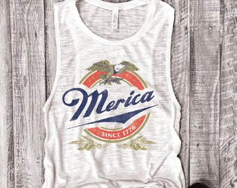 Merica Since 1776... Muscle Tee in White Slub, Funny Shirt, Muscle Tank, Fourth Of July, July 4th, Independence, USA, Patriotic,Flag