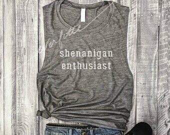 Shenanigan Enthusiast Muscle Tee in Asphalt/White Workout Top, Muscle Tank