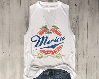 Merica Since 1776...Choker Neck Muscle Tee, Raw Edge Armholes, Vintage Concert T-shirt,Beer, petite, 4th July, Memorial Day, Star Spangled