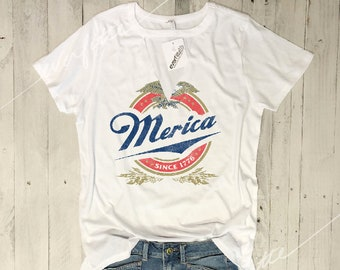 Merica Since 1776...Choker Neck Cut-Out V Tee, Graphic Tee, Funny Shirt, USA, July 4th, fourth of July,Star Spangled, Red white, 100% Cotton
