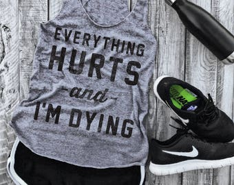 Everything Hurts and I'm Dying Gym Eco-tank in Heather Grey/Black, workout tank, hangover, hungover, wine, beer, yoga tank, yoga vest