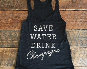 SALE SAVE WATER Drink Champagne Charcoal / White Eco Tank