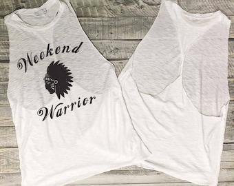 Sale Weekend Warrior...White Slub/Black Open Twist Back Tank, Raw Edge, Flowy Tank, Workout Tank, Message Tee, Shirt with Words, Made In USA