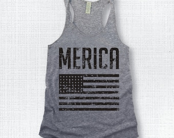 MERICA..Funny Tank, Yoga Shirt, Gym Shirt, Gym Tank, Yoga Top, hot yoga, Gym Top, Yoga Vest, July 4th, Fourth of July