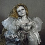 Ghostly Doll in White with Black Eyes  #650  Creepy Doll  Dark Art  Horror Collectible  Haunted Doll  Day of the Dollies