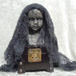 Mummy Doll Bust on Rustic Box  Halloween Decor  Creepy Doll  Dark Art  Day of the Dollies #671