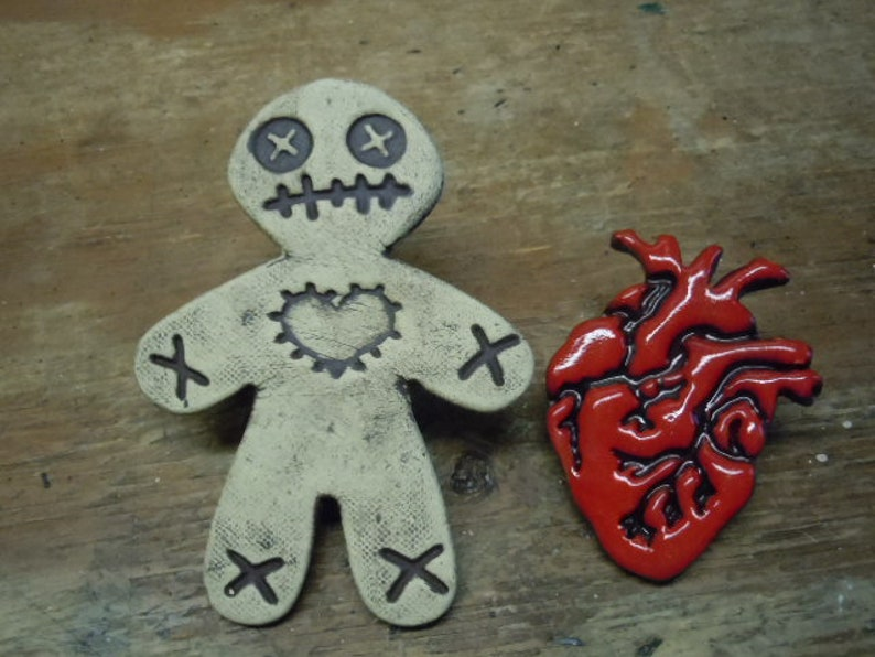 Red Anatomical Heart and Voodoo Doll Magnets #2  Day of the Dollies