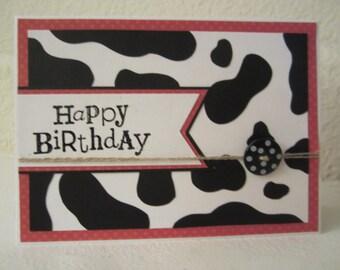 Cow Print Happy Birthday card