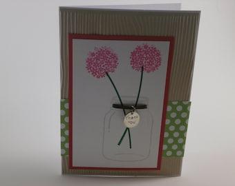 Thank You card,  Mason Jar thank you card, thank you charm