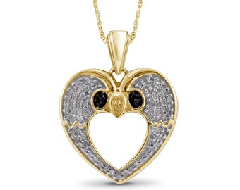 1/4 Carat T.W. Black And White Diamond 14kt Gold Over Silver Parrot Pendant