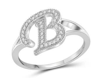 B letter ring | Etsy