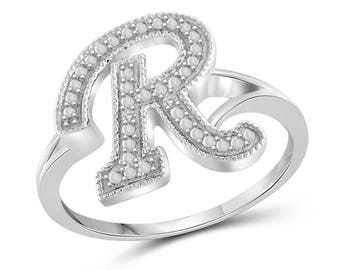Letter r ring etsy white diamond accent r initial spell it out ring in sterling silver thecheapjerseys Gallery