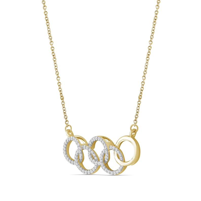 White Diamond 14k Gold Over Silver Olympic Symbol Pendant 14 Carat T.W