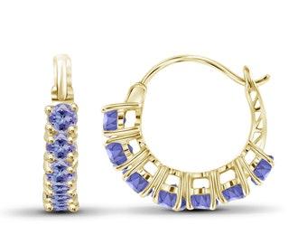 1.40ctw Genuine Tanzanite Gemstone 14k Gold Over Silver Hoop Earrings