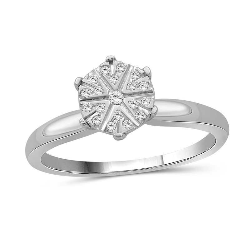 White Diamond Sterling Silver Flower Ring 110 Carat T.W