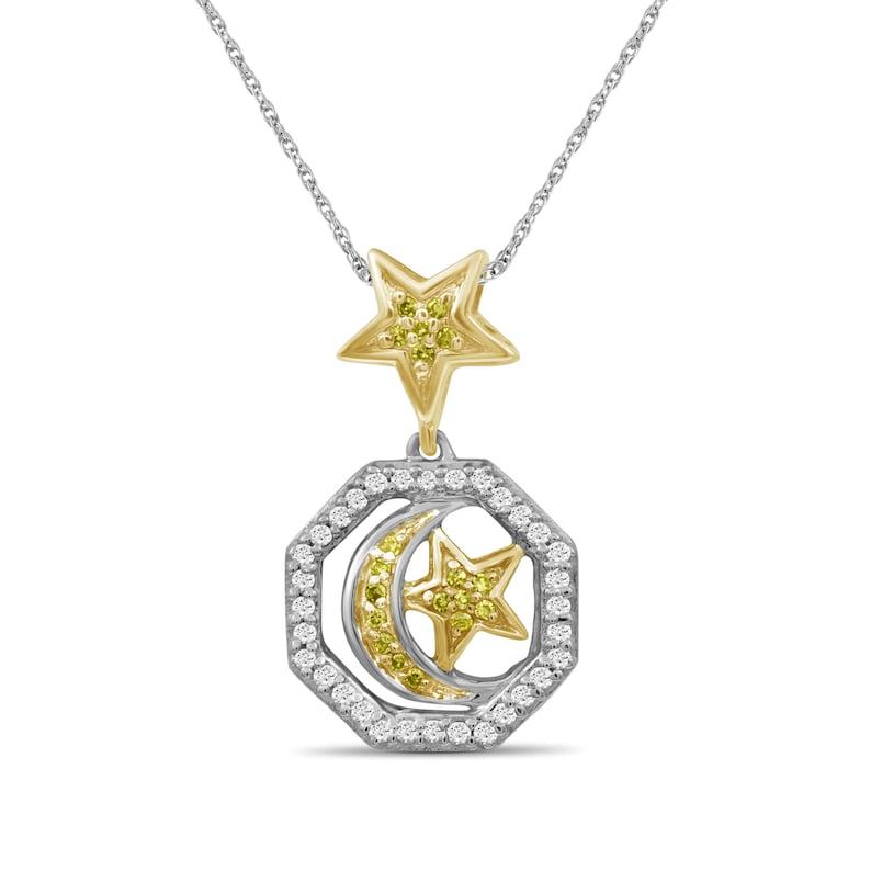 17 Carat T.W Yellow And White Diamond Two Tone Silver Star /& Moon Octagon Pendant