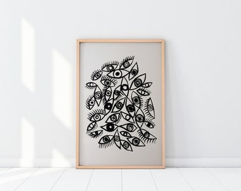 """Screen Print. """"Eyes"""". Poster. 50x70. Limited edition."""
