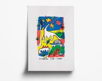 Dinosaurs. Risograph original print. A3 paper size.