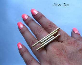 Brass Minimalist Lines Ring. Brass Jewelry Handcrafted Unique  Lines Ring. Minimalist Artisan Ring