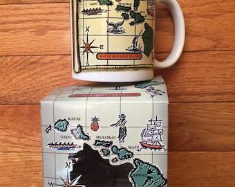 Map of Hawaiian Islands Coffee Mug New Old Stock Designed in Hawaii by Island Treasures Hawaiian Souvenir Mug Hawaii Gift Ceramic Mug