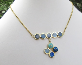 Lapis Lazuli Necklace, Button Necklace, Upcycled Necklace, Buttons Added, Mid Century Recycled, Eco Friendly Jewelry, Blue Necklace