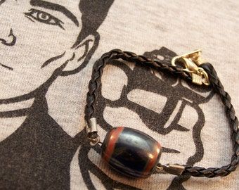 Leather & Ceramic Bracelet, Men's Bracelet, Unisex Jewelry, Barrel Bead, Gift for Young Father