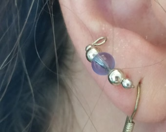 Ear Cuffs,Pierced,Silver Earcuffs,Cobalt,Sky Blue,Orange,Light Yellow,Baby Pink,Earlobe Hugger,Ear Wrap,Plough,Climber Earrings,Single Stone