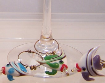 Angelfish Wine Charms, Set of 6 Glass Markers, Fish, Fishies, Aquarium, Under the Sea, Blue, Pink, Purple, Yellow, Green, Black