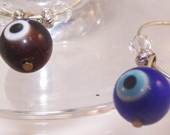 Eyeball Wine Charms, Set of 6 Glass Markers, Stemware, Optometrist, Ophthalmologist Gift, Halloween, Optician, Eye, Party, Barware, Cocktail
