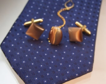 Cat's Eye Cufflinks & Tie Pin, Tiger's Eye Brown, Men's Fathers Day Gifts