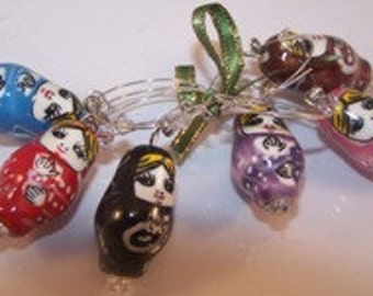 Russian Nesting Doll Set of 6 Wine Charms, Hostess Gifts, Painted Porcelain Matryoshka Beads