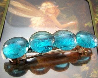 Glass Jewel Barrette, Green, Aqua, Clear or Green & Clear, Hair Slide, Turquoise Hair Accessories, Ornaments, Pins