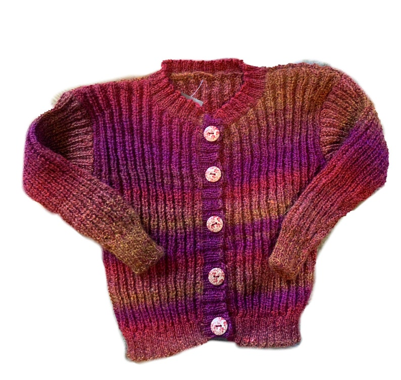 Handmade multi color wool sweater made in Norway size 4-6 image 0