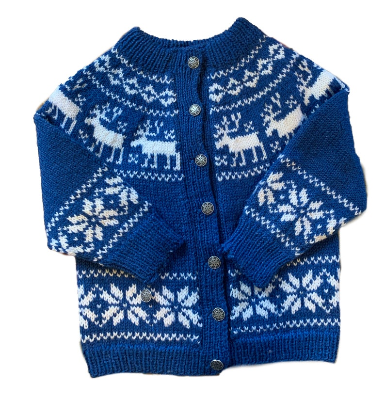 Handmade fair isle reindeer Norwegian sweater by Norsk image 0