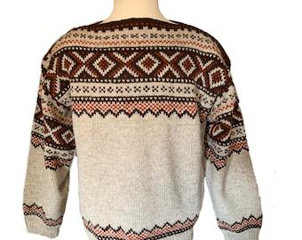 Vintage handmade Norwegian wool sweater by Lulle Otterstad of Oslo-L