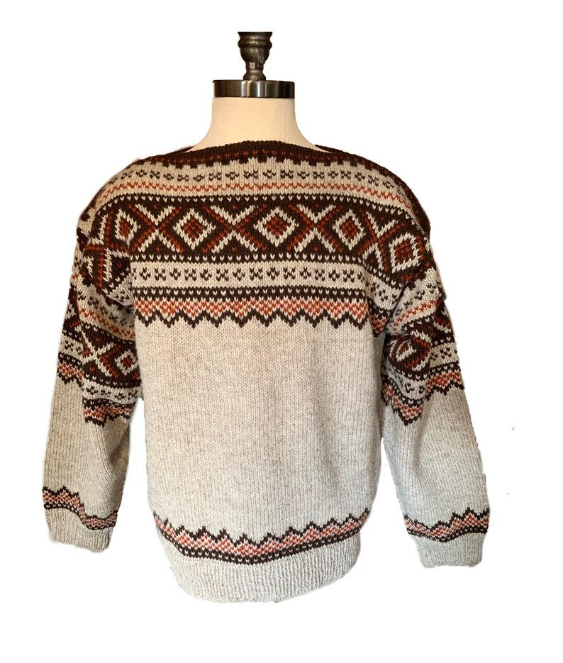 Vintage handmade Norwegian wool sweater by Lulle Otterstad of image 0