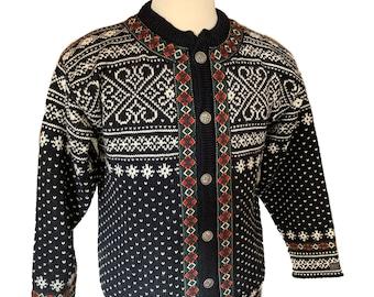 Dale of Norway, Norwegian wool cardigan ski sweater-Size Mens S