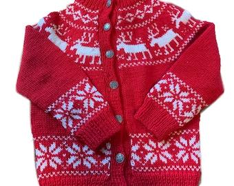 Handmade fair isle reindeer Norwegian sweater by Norsk Handstrikk a.s. size childs small