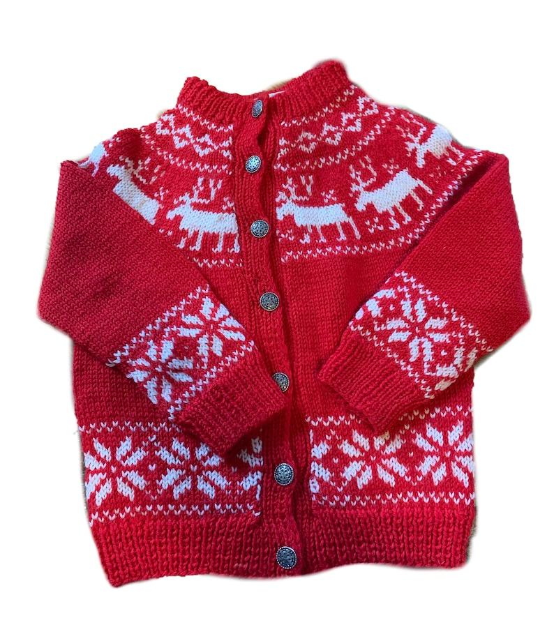 Handmade fair isle reindeer Norwegian sweater by Norsk image 0
