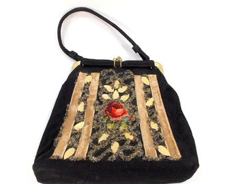 Vintage Black Purse, Rose Needlepoint Handbag, Hand Decorated Bag by Caron, Made in Texas, Antique Beaded 1940s Purse, Designer Handbag