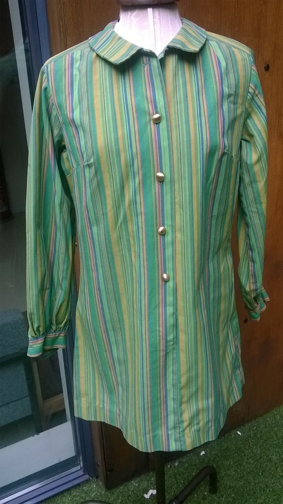 Vintage 60s Green Striped Mod Dress Mary Quant sty