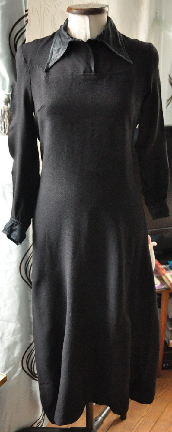 Designer Black Moss Crepe late 60s Maxi dress with