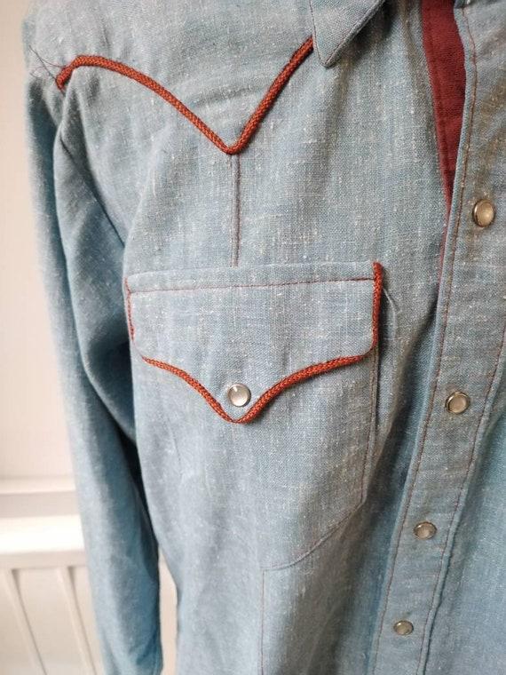 Vintage 50s Rockmount Denim Western Shirt - image 4