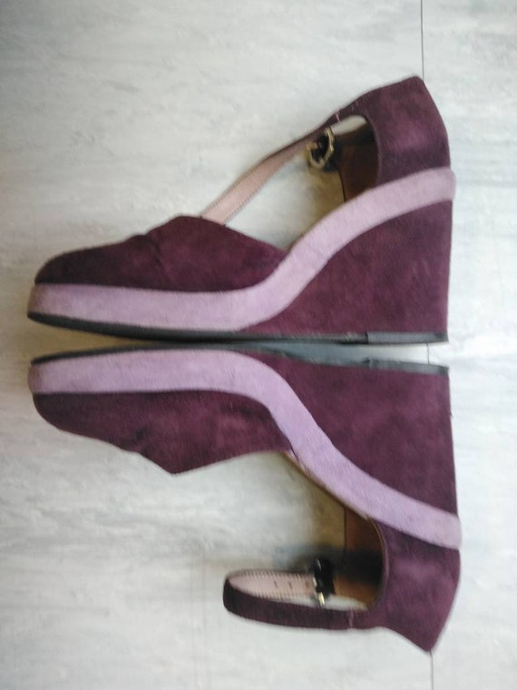 Vintage 90s Does 70s Purple Platforms Size 38
