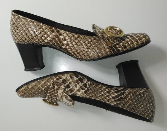 Vintage 60s Faux Snakeskin Mod Shoes