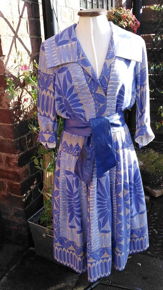 Vintage 50s Floral Novelty Print Dress - image 3