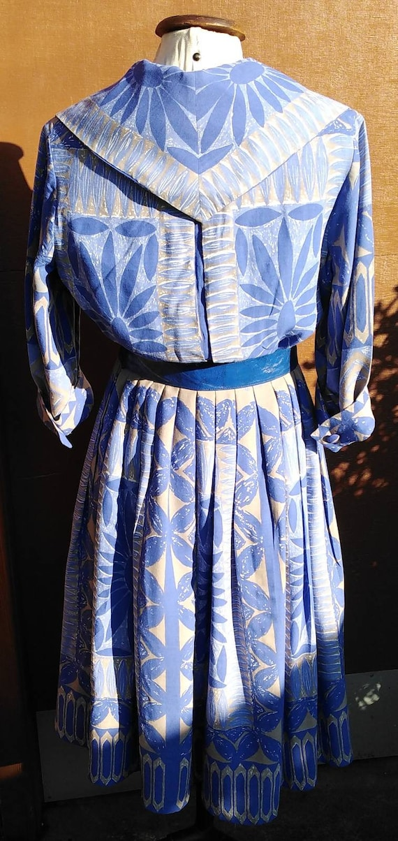 Vintage 50s Floral Novelty Print Dress - image 4