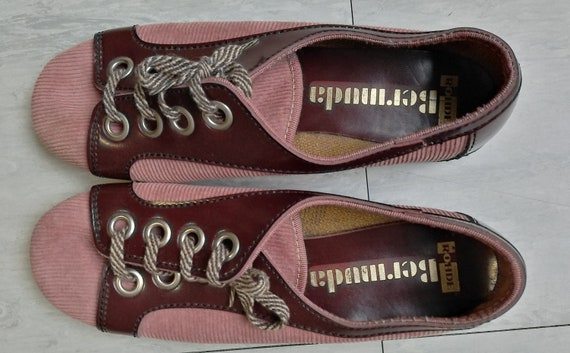 Vintage 60s/70s Salmon Pink Cord Mod Shoes