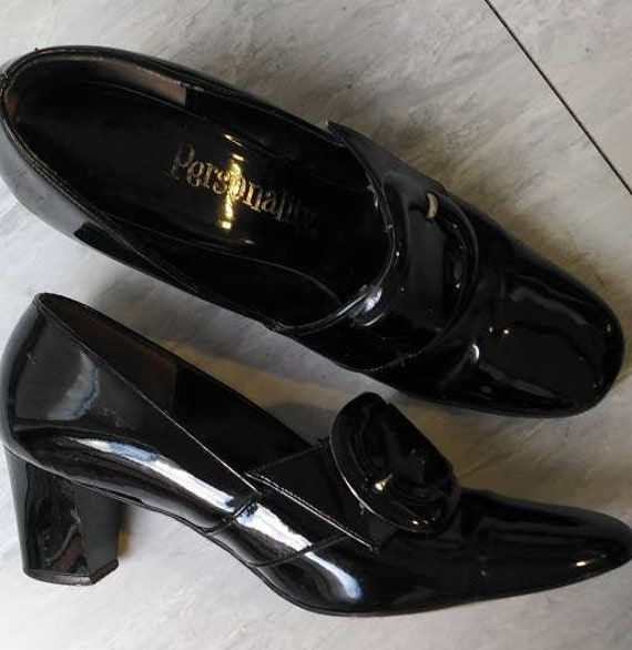 Vintage 60s Black Patent Mod Shoes
